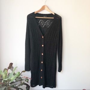 BCBG MAXAZRIA Black Knit Duster Cardigan